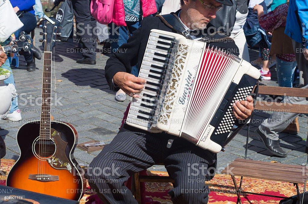 accordeon player stock photo