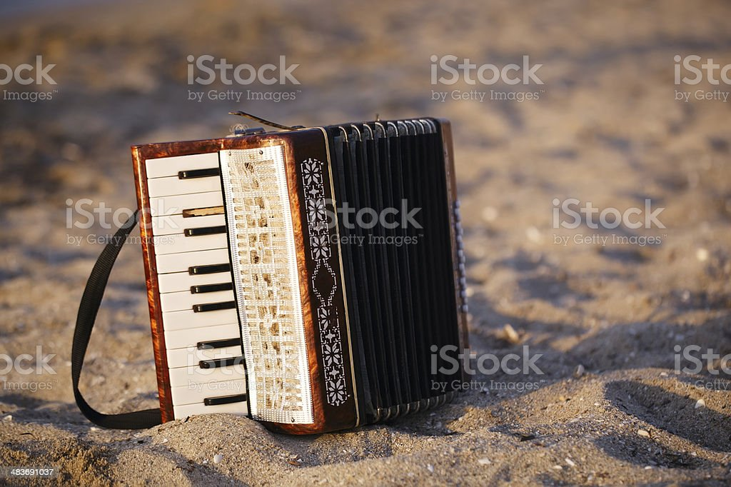 Accordian on a sandy beach stock photo