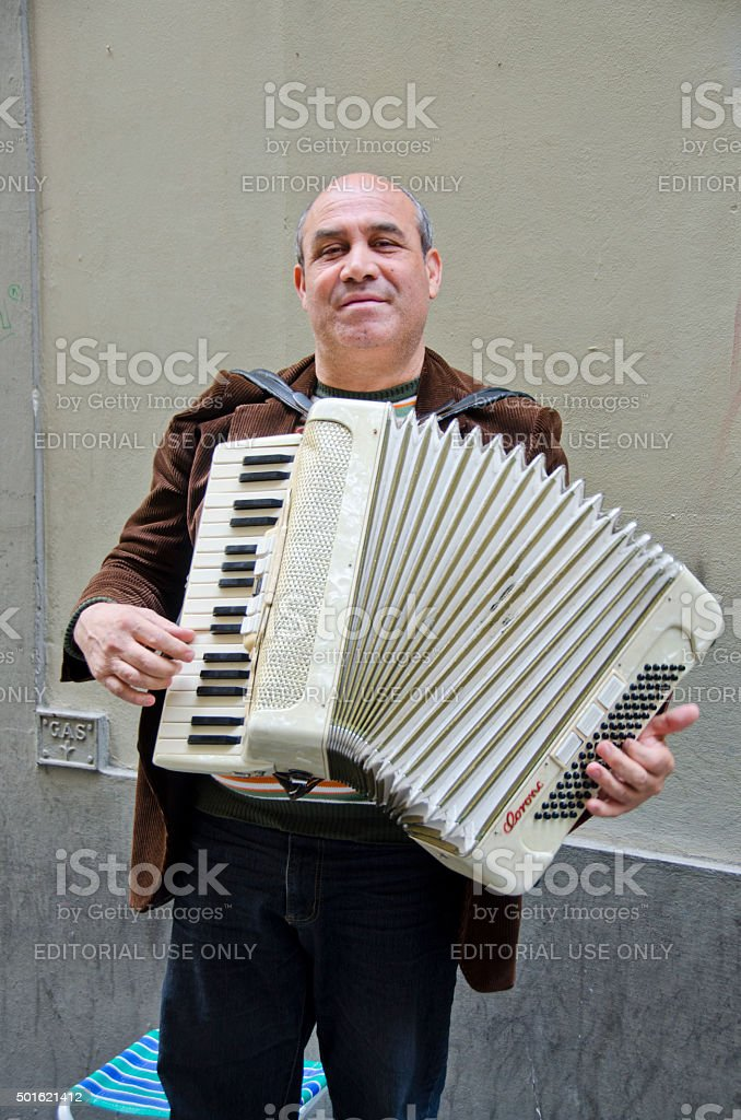Accordian Player on the Streets of Florence, Italy stock photo