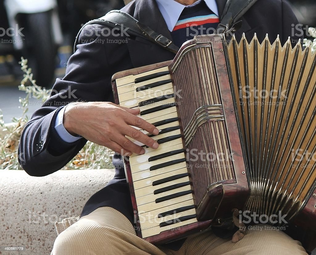 Accordion being played accordionist stock photo