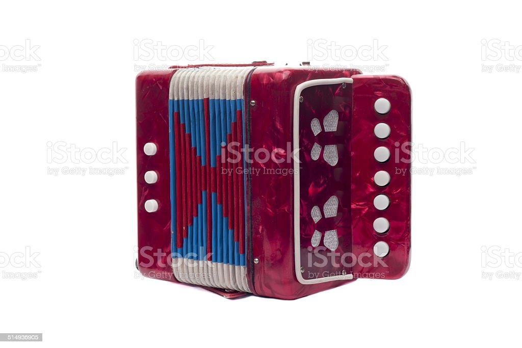Accordion, musical instrument on white background stock photo