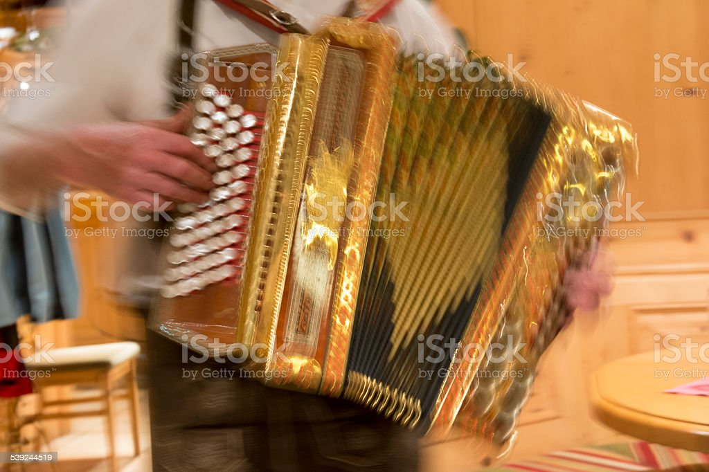 accordion player in motion stock photo