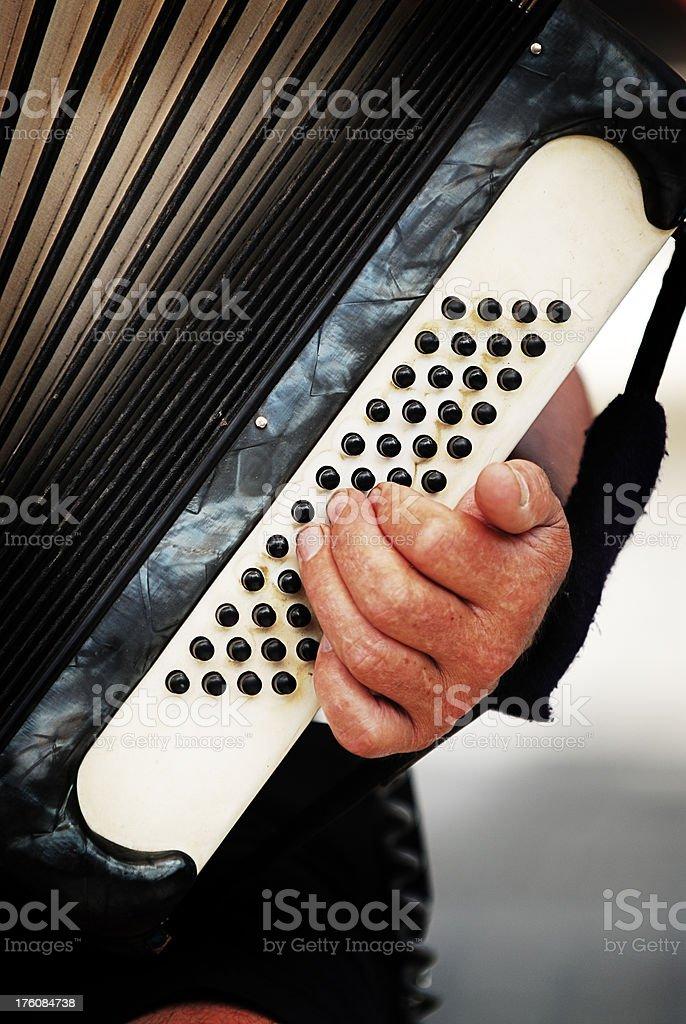Accordion Player - Lomo royalty-free stock photo
