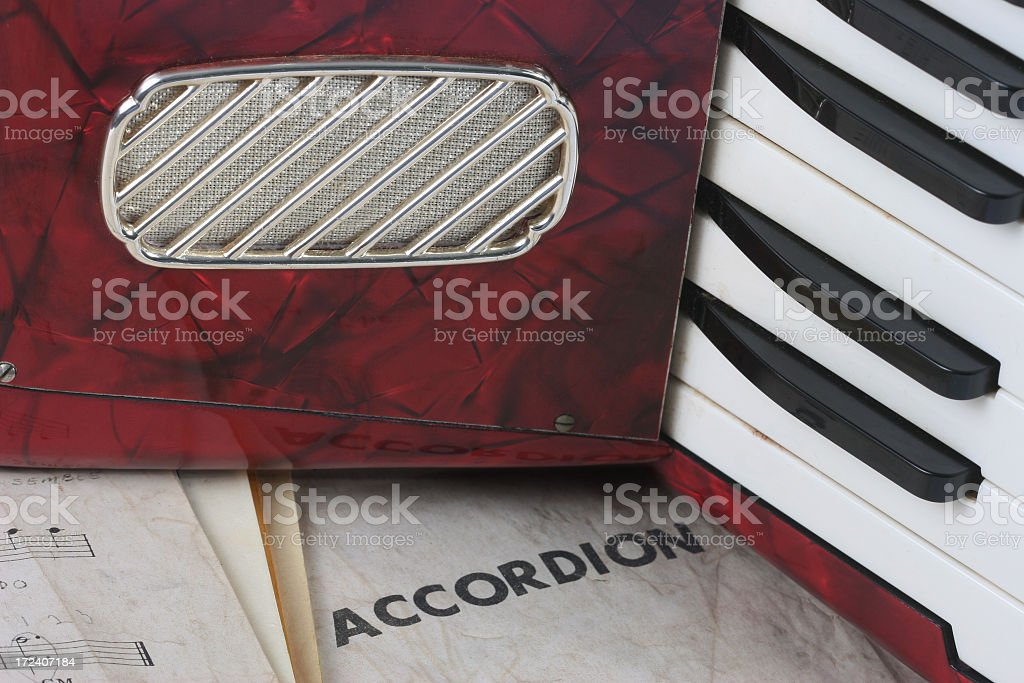 Accordion with sheet music royalty-free stock photo