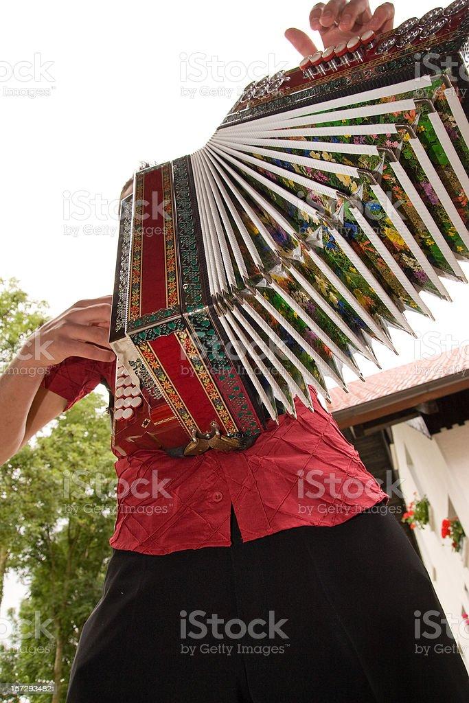 Accordionist with diatonic accordion stock photo
