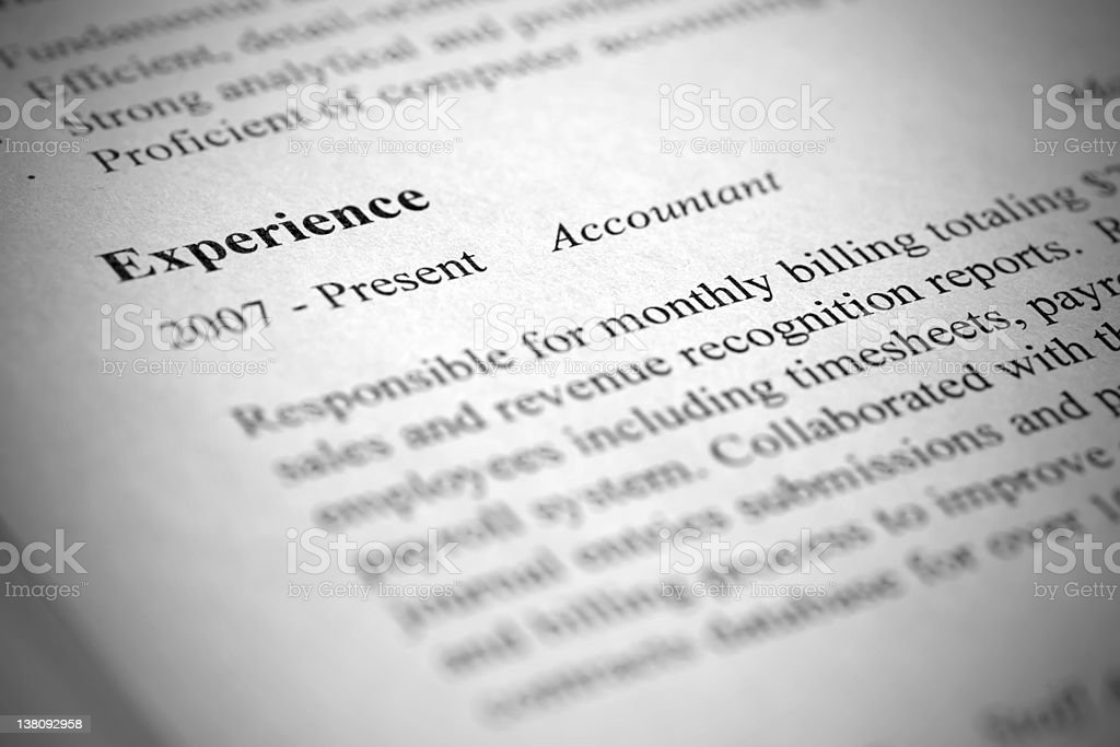 Account manager modern resume close-up. Tilt view and shallow de royalty-free stock photo