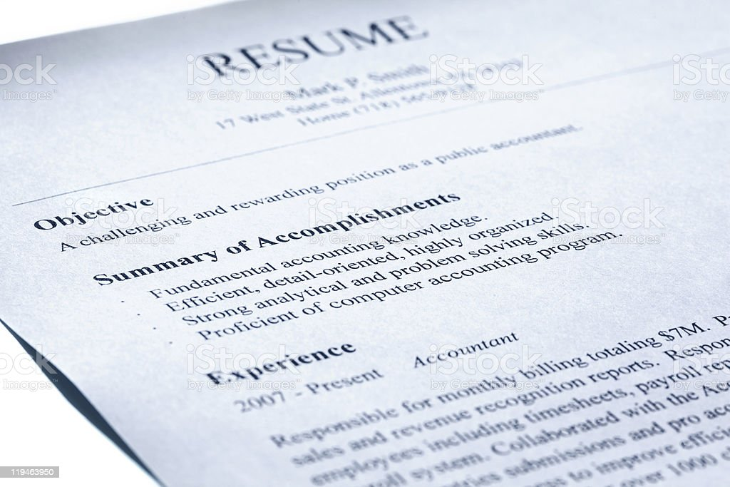 Account manager resume. Blue tint. stock photo