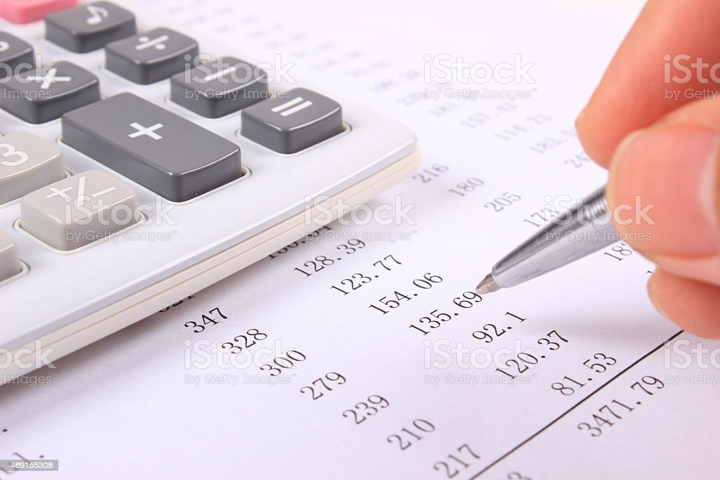 Account Statement and calculator stock photo