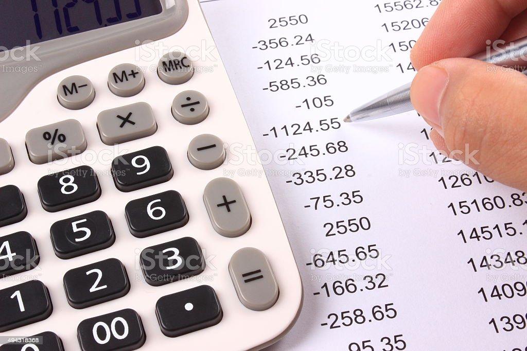 Account Statement and calculator stock photo