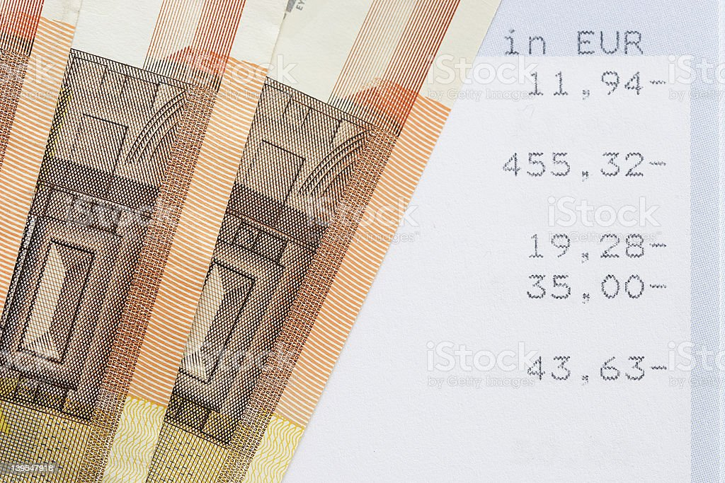 Account statement with euro cash royalty-free stock photo
