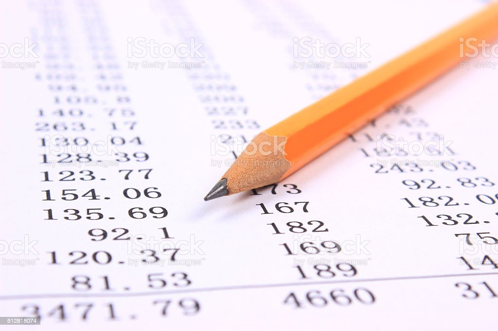 Account Statement with pencil stock photo