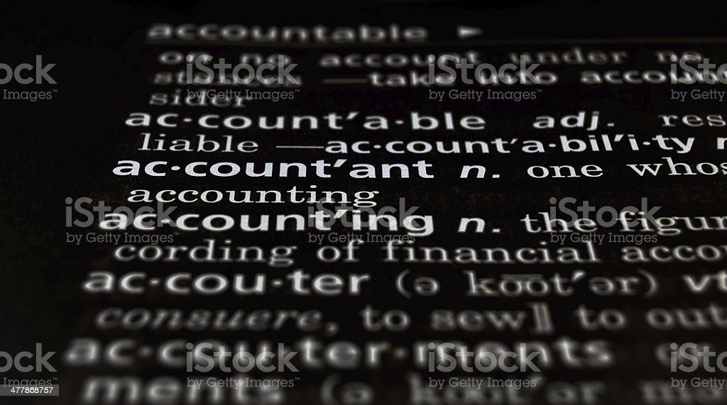 Accountant Defined on Black royalty-free stock photo