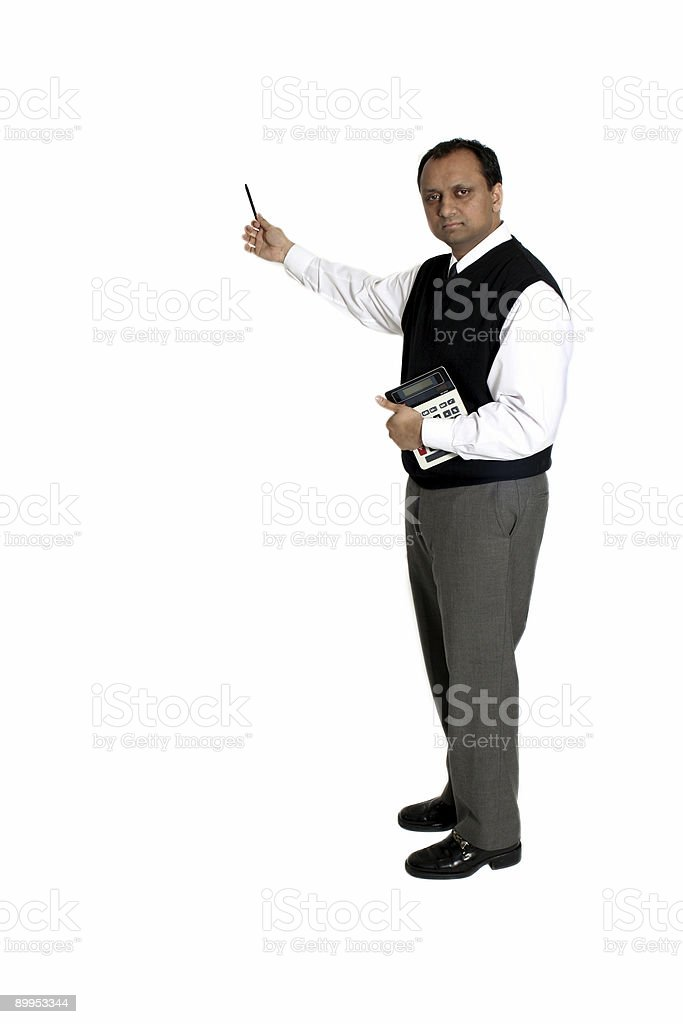 accountant pointing with pen royalty-free stock photo