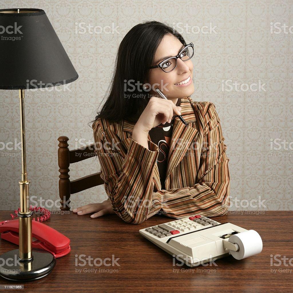accountant secretary retro woman vintage office royalty-free stock photo