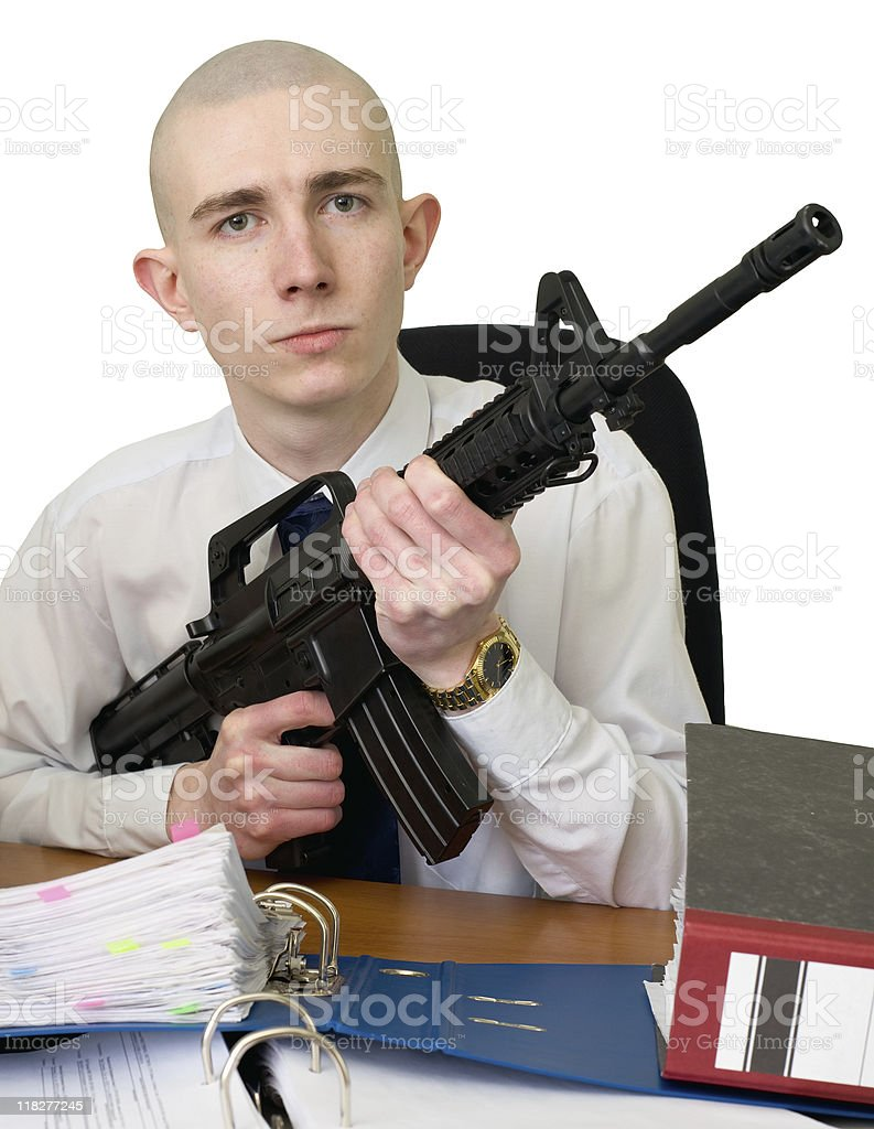 Accountant with a rifle in hands royalty-free stock photo