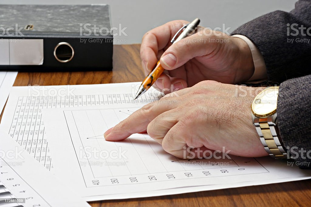 Accountant working on spreadsheet data royalty-free stock photo