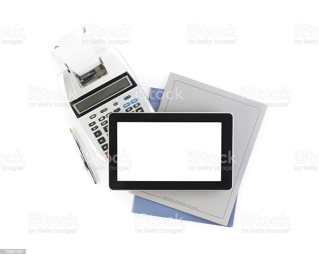Accounting & Digital Tablet stock photo