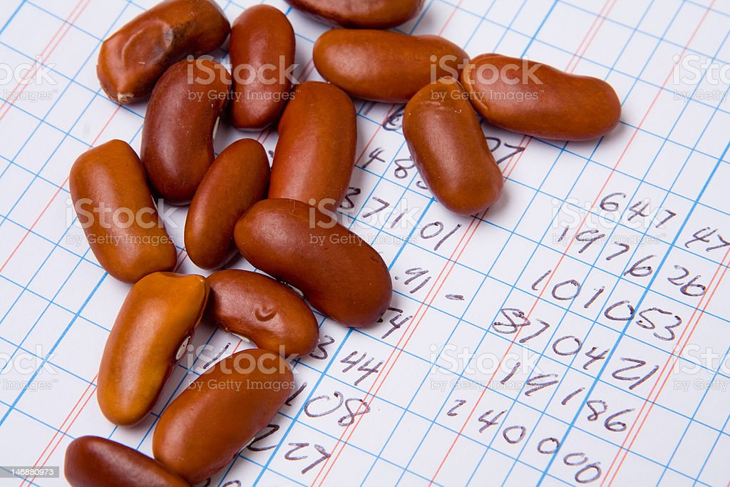 Accounting Ledger Book, Numbers, Pile Bean Counter stock photo
