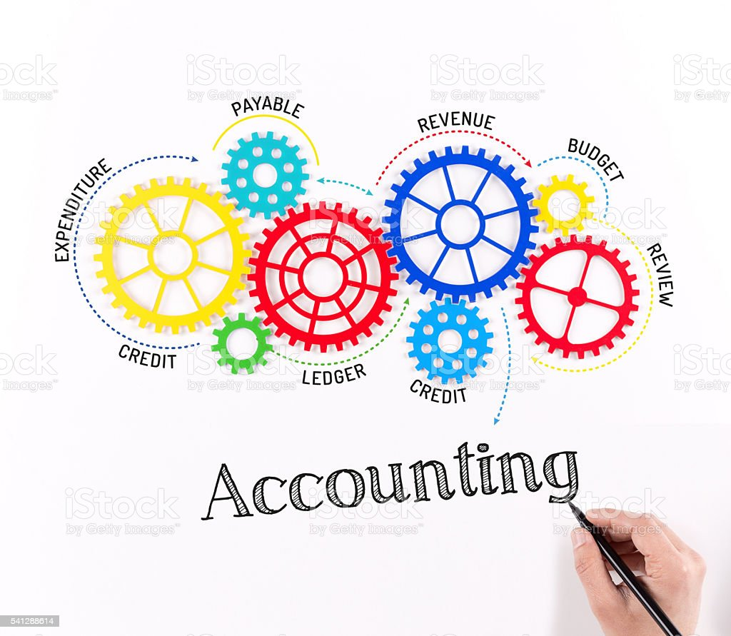 Accounting Mechanism with Gears stock photo