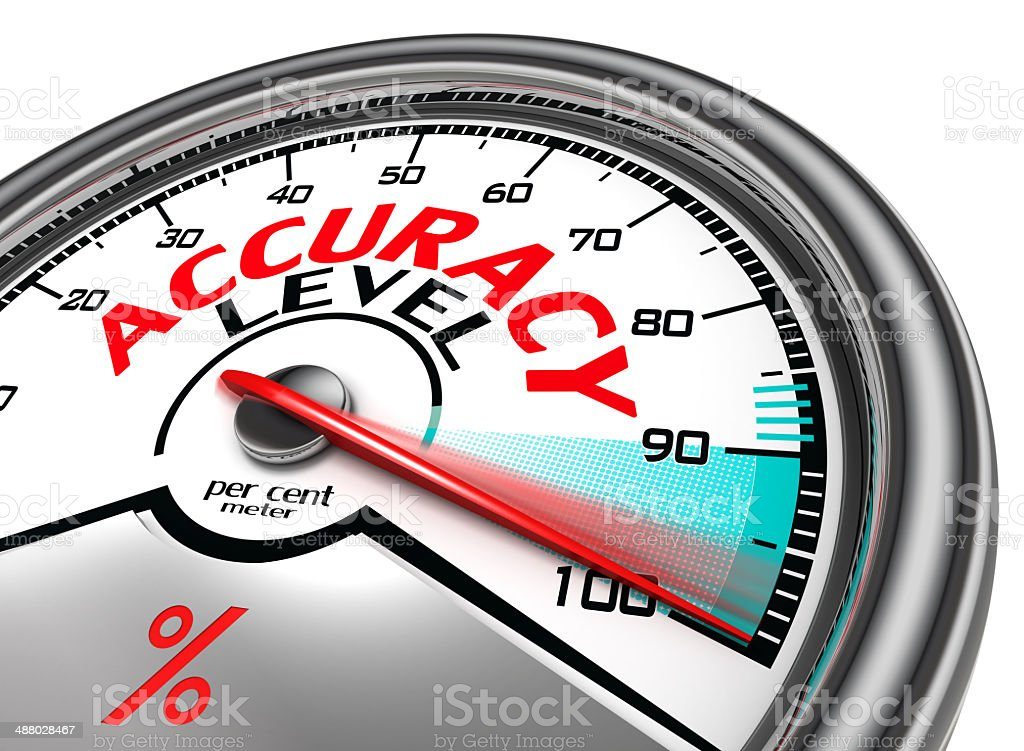 accuracy level conceptual meter stock photo