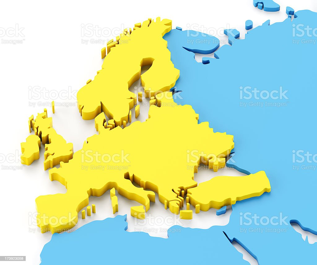 Accurate 3d map of europe royalty-free stock photo