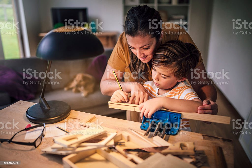 Accurate Measuring Together stock photo