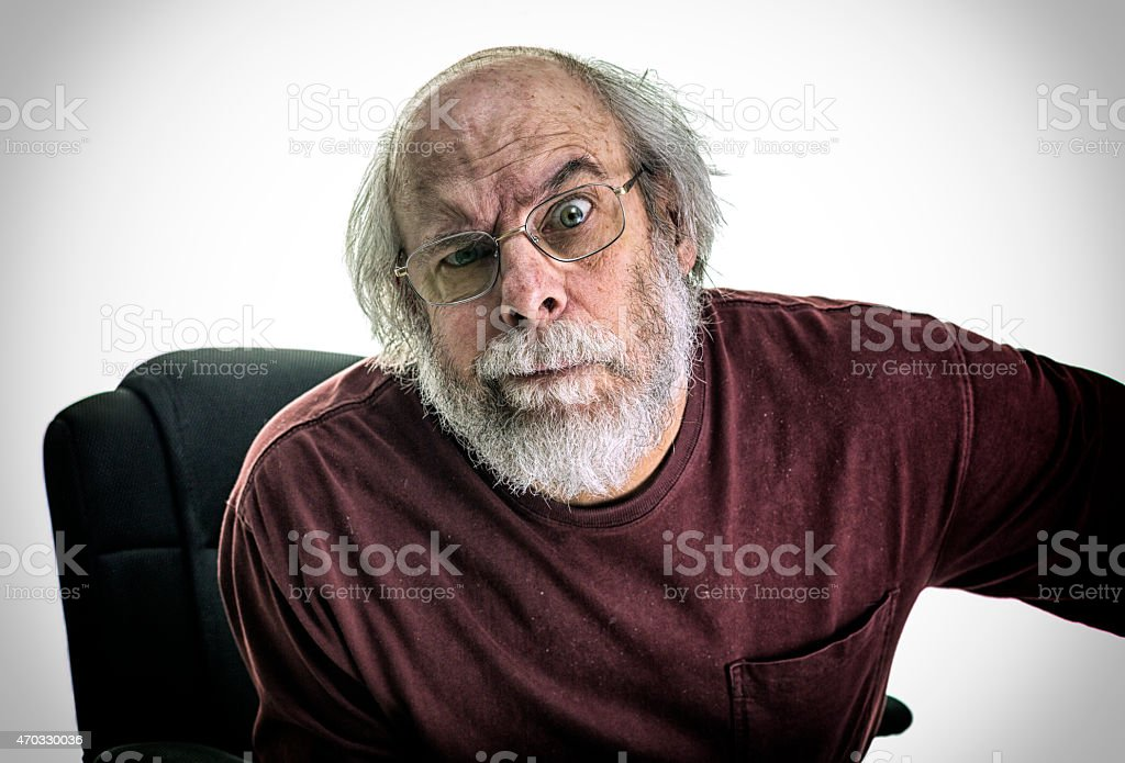 Accusing Creepy Grubby Dandruff Office Colleague Bully Senior Adult Man stock photo