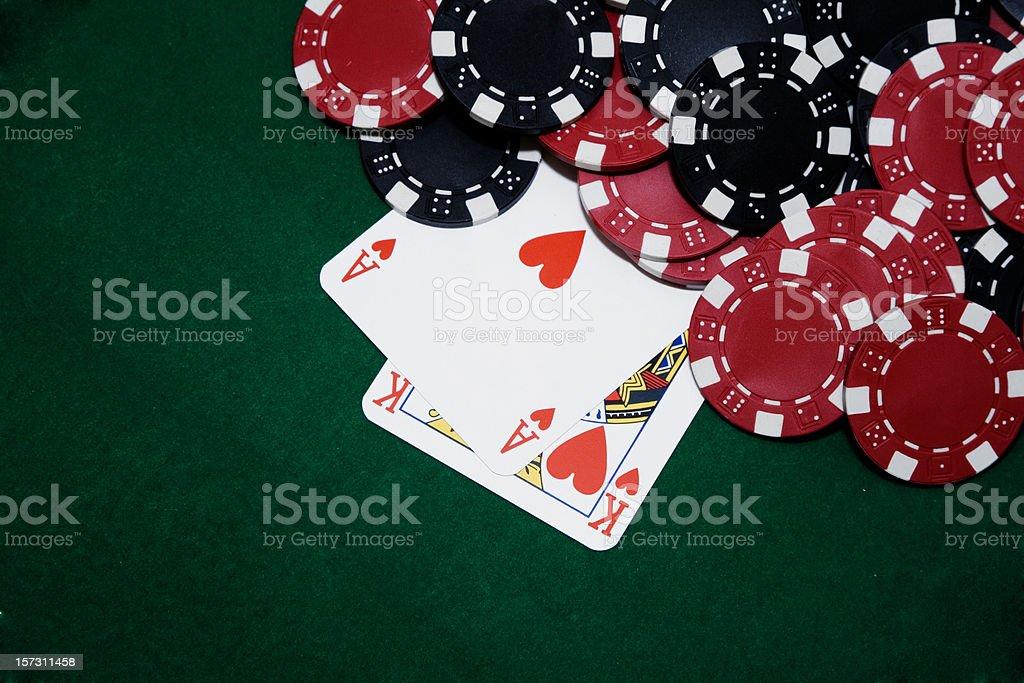 Ace & King under big bet stock photo