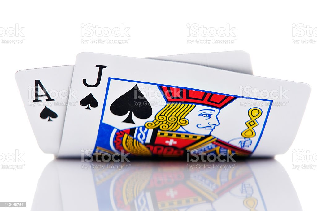 Ace and Jack of spades on white background stock photo