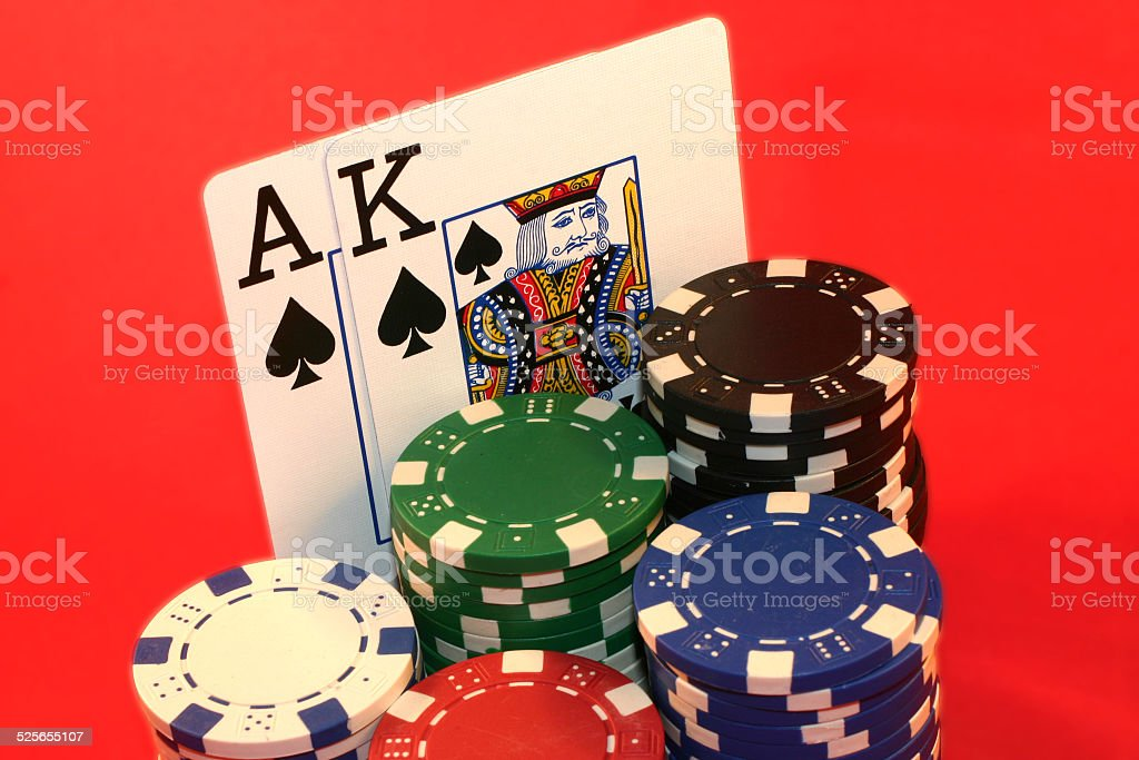 Ace and King poker hand stock photo