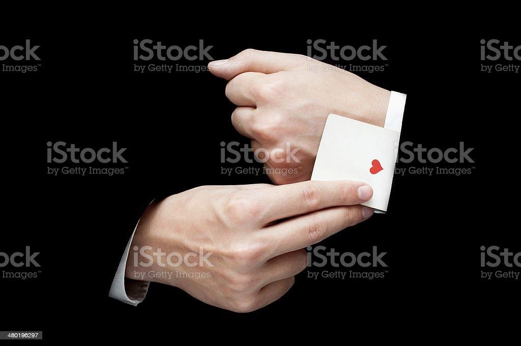 Ace Card hidden under sleeve stock photo