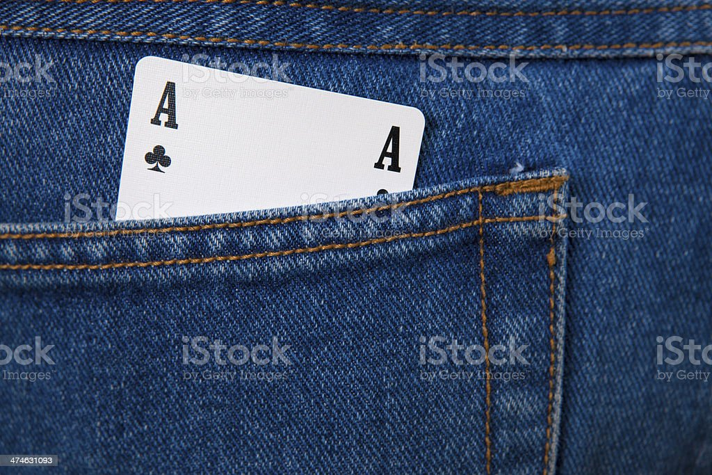 Ace  in gamblers jeans pocket stock photo