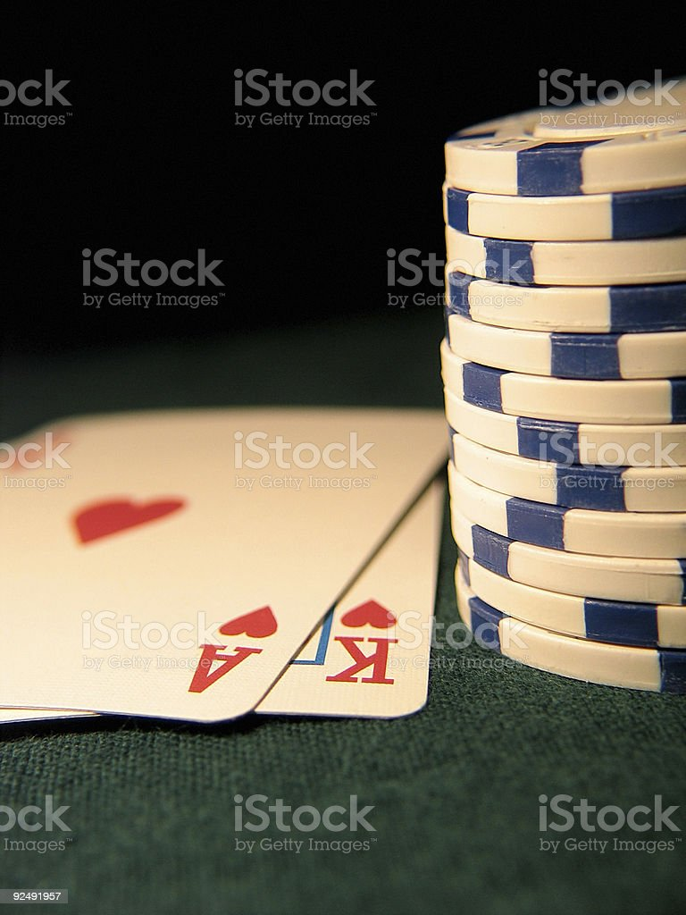 Ace King with white chips royalty-free stock photo