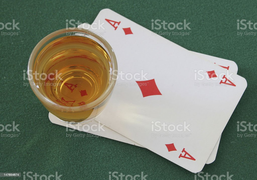 Ace Od Diamonds And A Shot Of Whiskey stock photo
