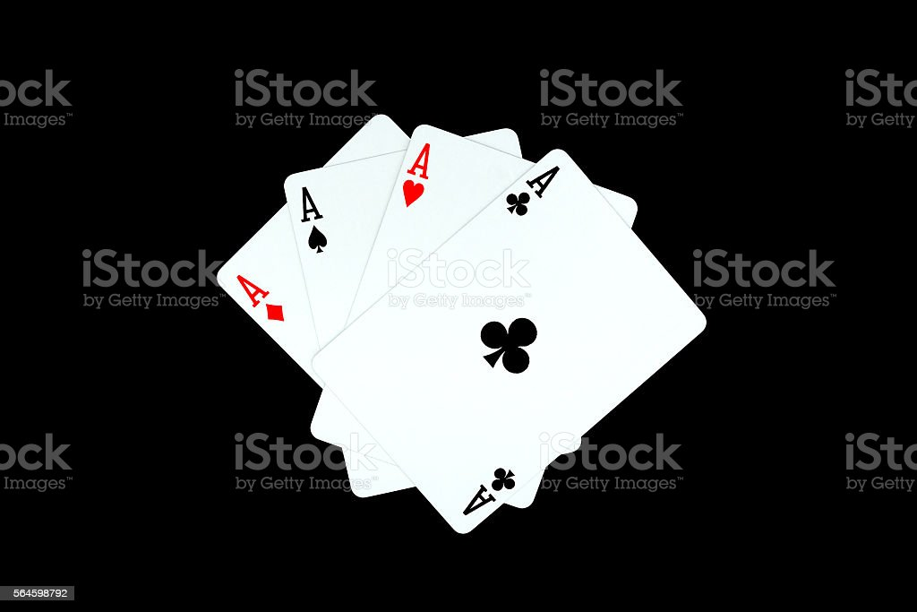 Ace of clubs and other ace stock photo