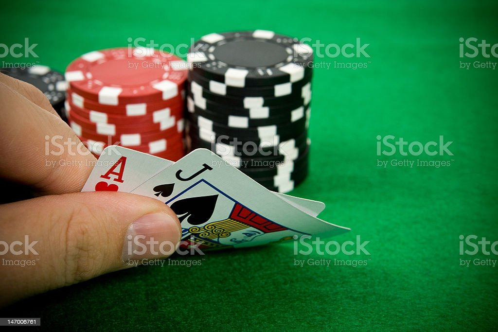 Ace of hearts and black jack stock photo