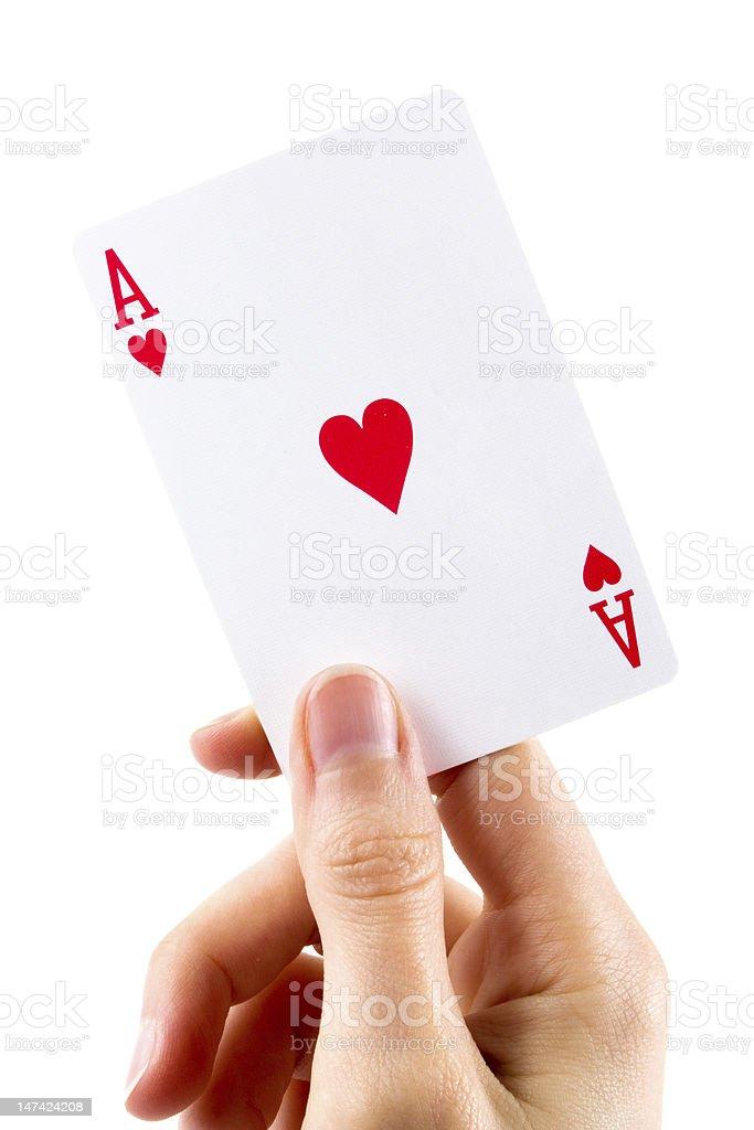 Ace of hearts being held over white stock photo
