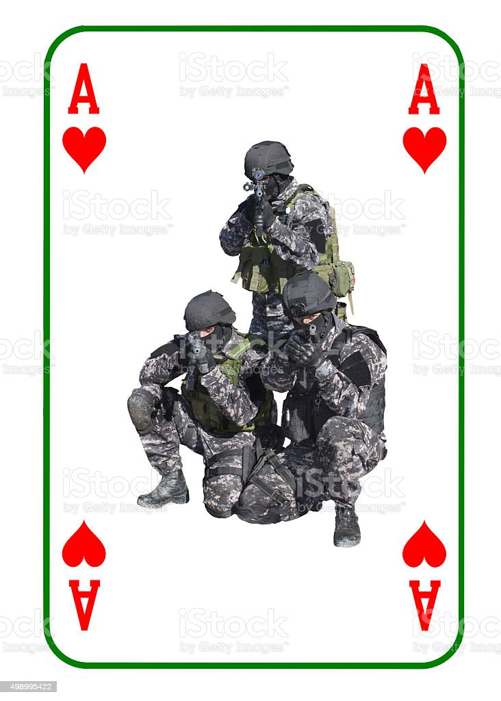 Ace of Hearts in combat. Special unit to fight terrorists stock photo