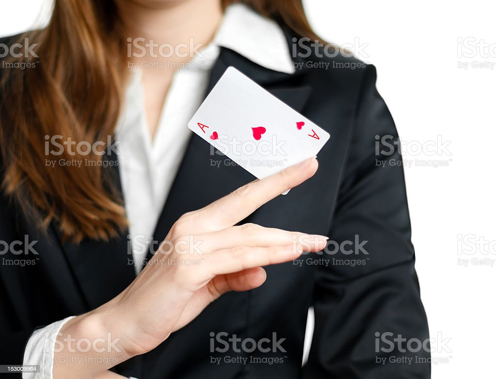ace of hearts on woman hand royalty-free stock photo