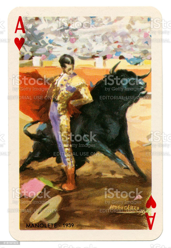 Baraja Taurina bullfighter Ace of Hearts 1965 stock photo