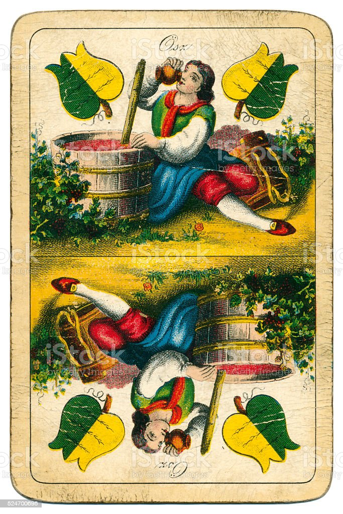 Ace two playing card William Tell Four Seasons Hungary 1890 stock photo
