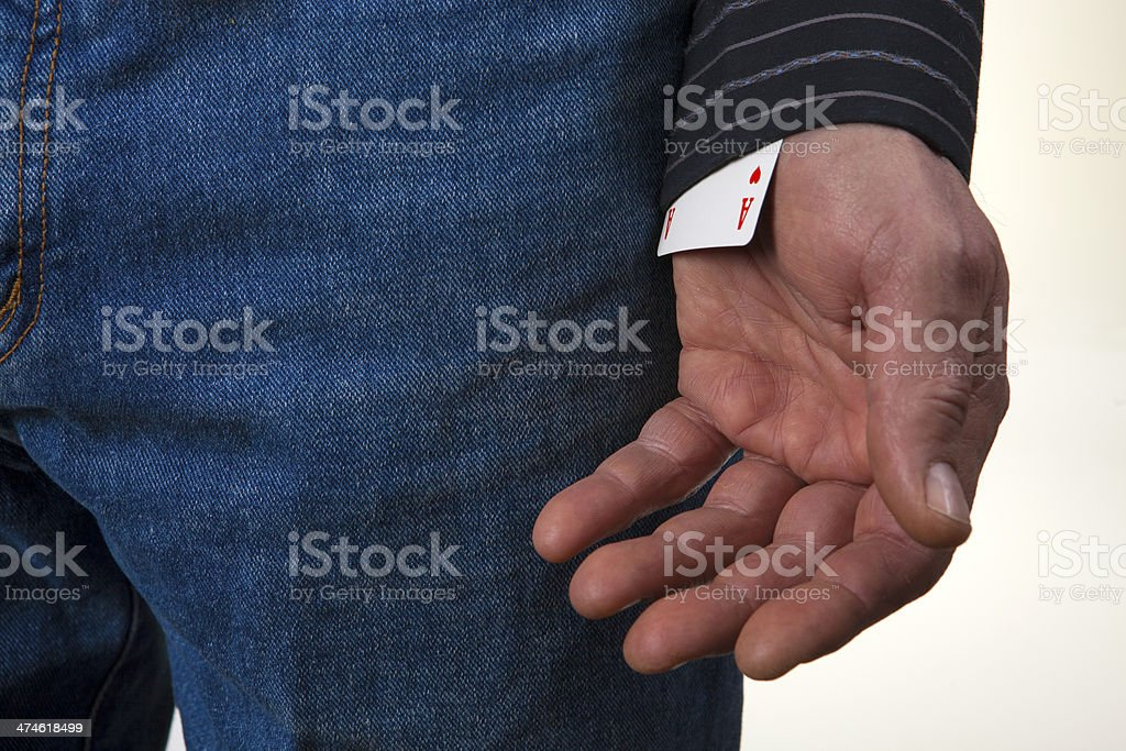 Ace up your sleeve shirt stock photo