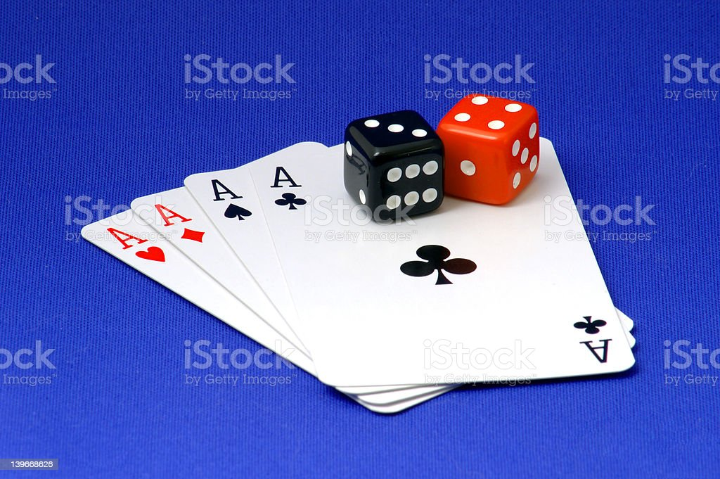 4 ace's and 2 dice stock photo