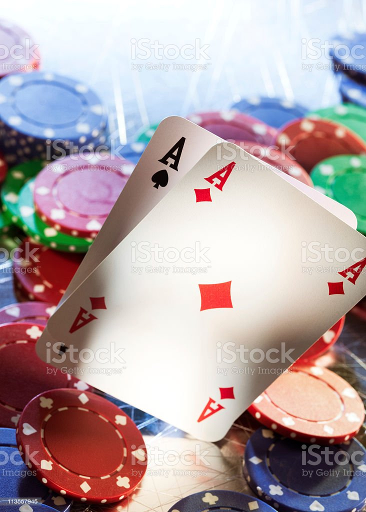 Aces and chips royalty-free stock photo