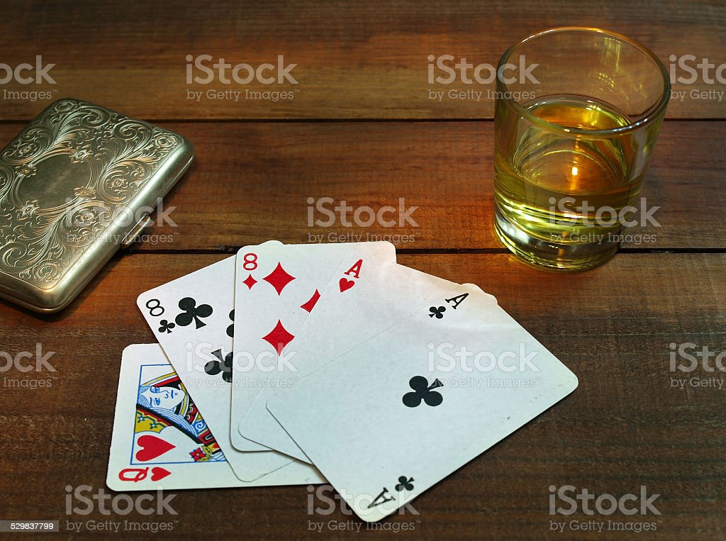 Aces and eights,'dead man?s hand' in poker stock photo