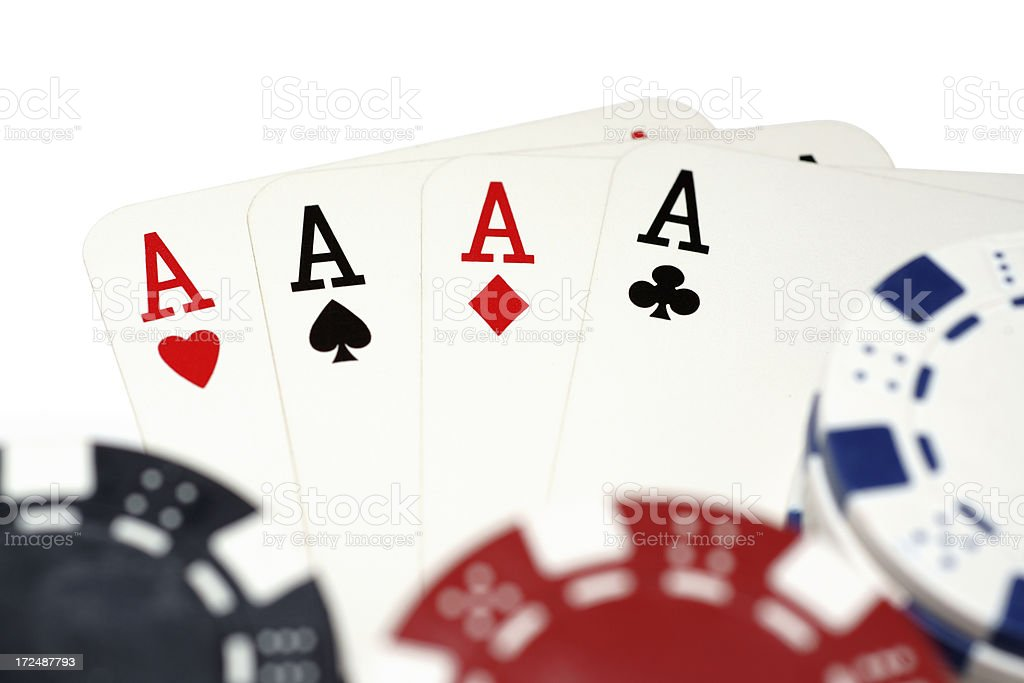 Aces and Gambling Chips royalty-free stock photo