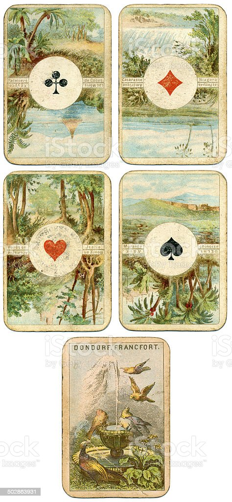 Aces German Four Continents playing cards by Dondorf 1900 stock photo
