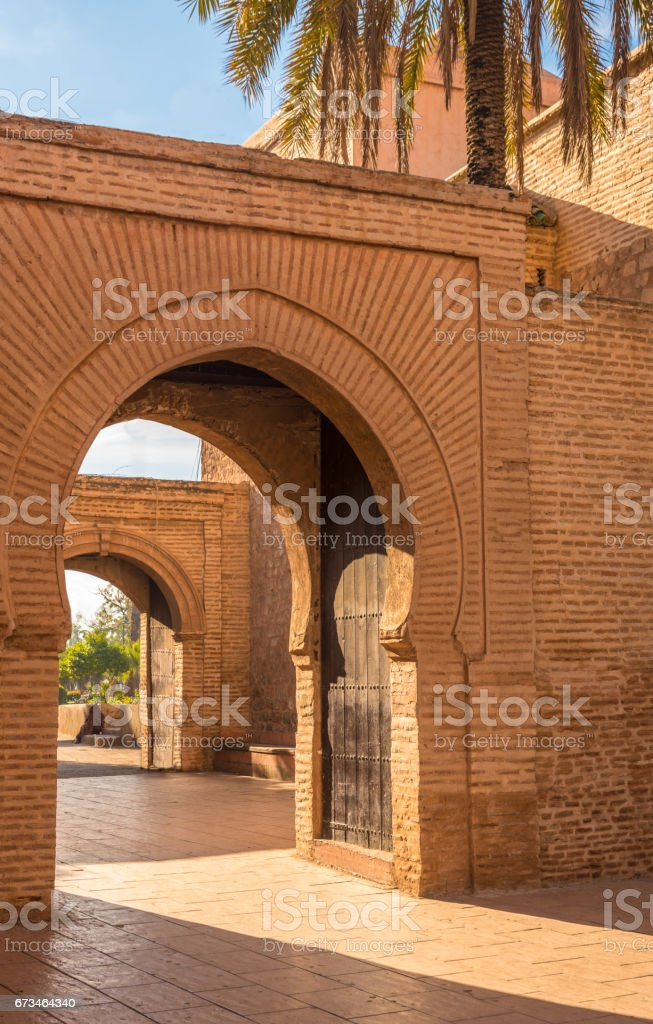 Acess to the  Koutoubia Mosque from the Park Lalla Hasna, Marrakesh, Morocco stock photo