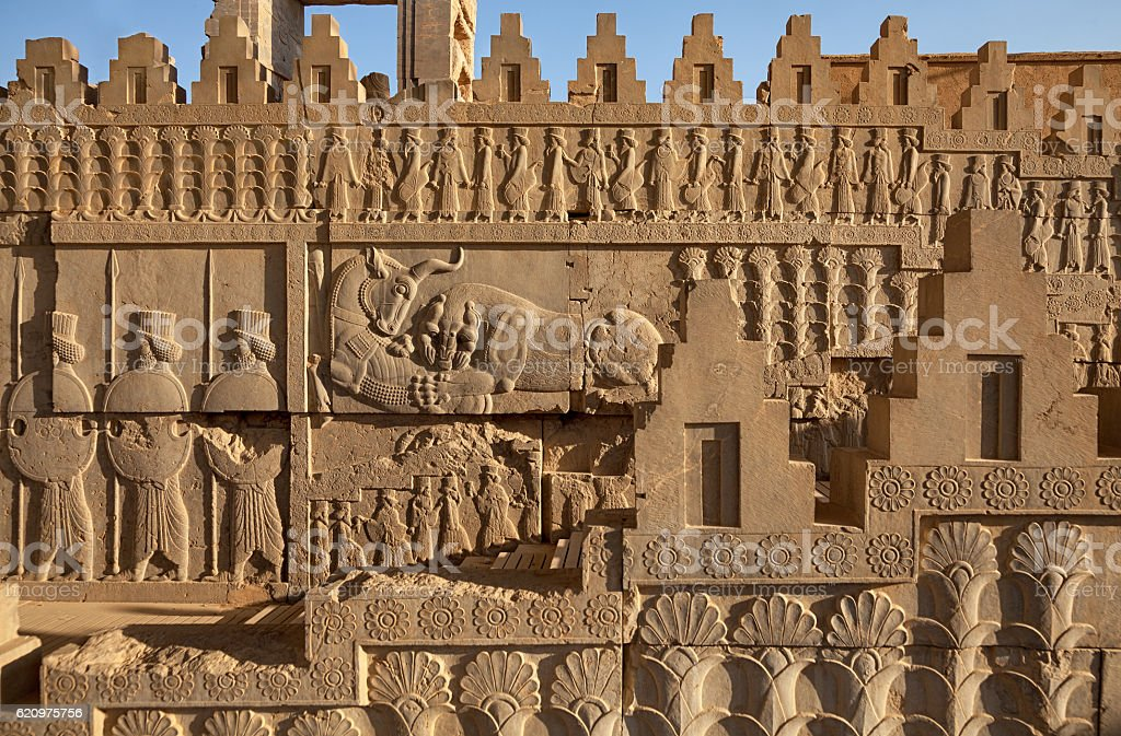 Achaemenid Bas Relief on Staircase in Persepolis of Shiraz stock photo