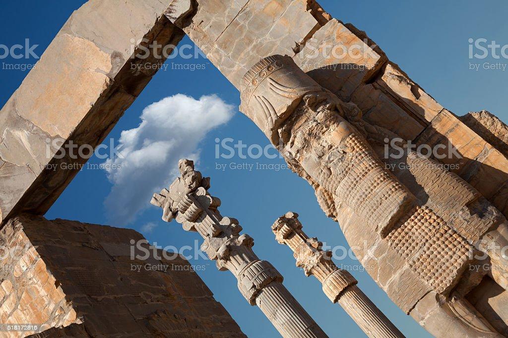 Achaemenid Lamassu Guarding Entrance Gate of All Nations in Persepolis stock photo